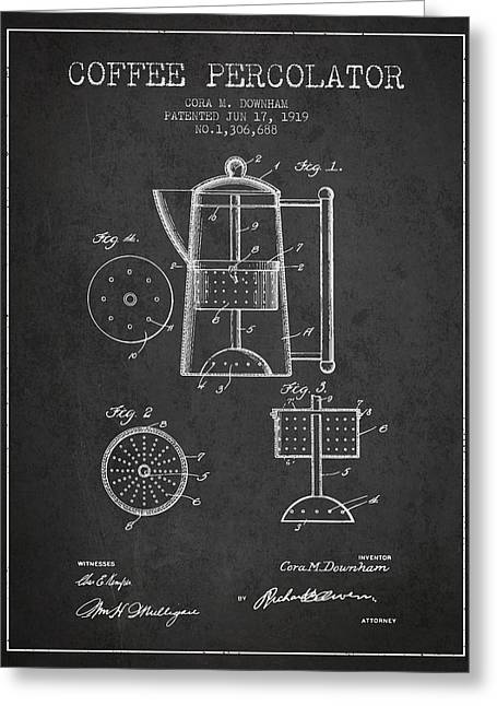 Coffee Maker Greeting Cards - 1919 Coffee Percolator patent - Charcoal Greeting Card by Aged Pixel