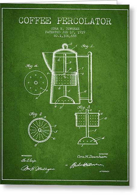 Coffee Maker Greeting Cards - 1919 Coffee Percolator patent - Green Greeting Card by Aged Pixel