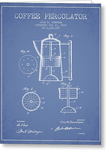 Coffee Maker Greeting Cards - 1919 Coffee Percolator patent - light blue Greeting Card by Aged Pixel