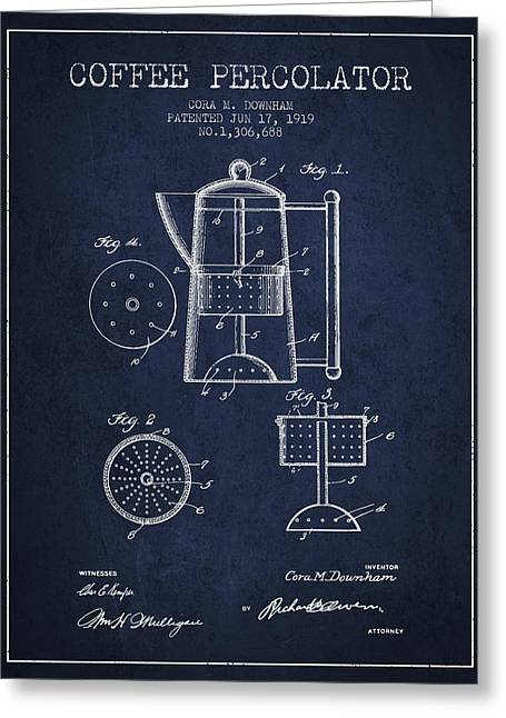 Technical Drawings Greeting Cards - 1919 Coffee Percolator patent - Navy Blue Greeting Card by Aged Pixel