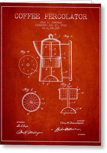 Coffee Maker Greeting Cards - 1919 Coffee Percolator patent - Red Greeting Card by Aged Pixel