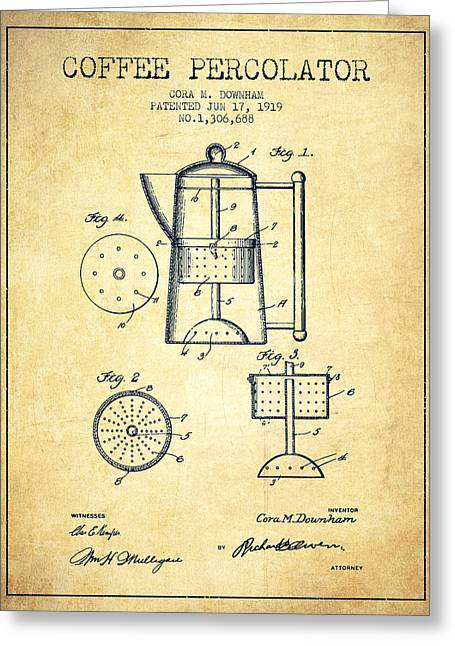 1919 Coffee Percolator Patent - Vintage Greeting Card by Aged Pixel