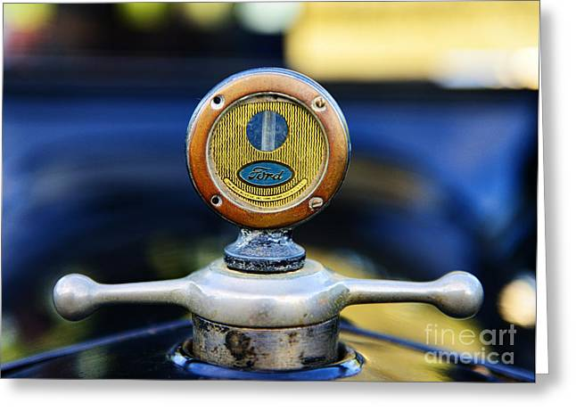 Vintage Hood Ornaments Greeting Cards - 1919 Ford Model T Hood Ornament Original Greeting Card by Paul Ward