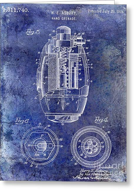 Wwi Photographs Greeting Cards - 1919 Hand Grenade Patent Blue Greeting Card by Jon Neidert
