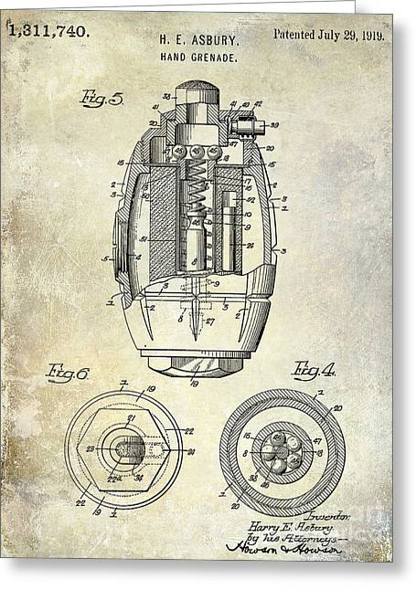 Wwi Photographs Greeting Cards - 1919 Hand Grenade Patent Greeting Card by Jon Neidert
