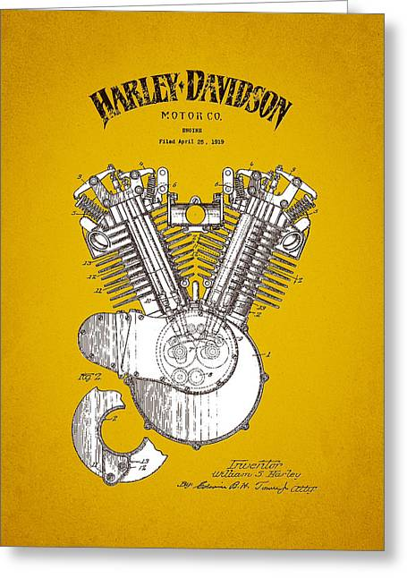 Motorcycle Engines Greeting Cards - 1919 Harley Davidson Engine Patent - Yellow Brown Greeting Card by Aged Pixel
