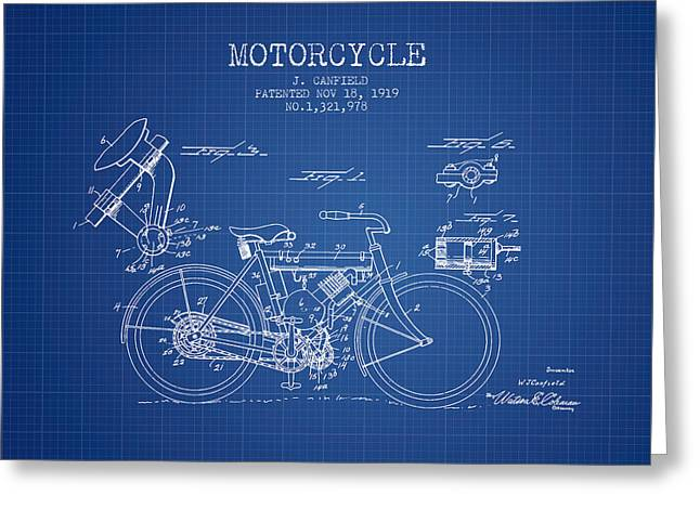 Bike Drawings Greeting Cards - 1919 Motorcycle Patent - Blueprint Greeting Card by Aged Pixel