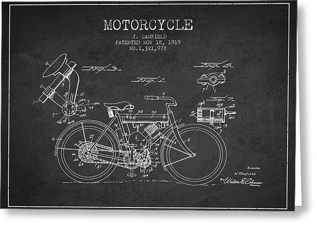 Bike Drawings Greeting Cards - 1919 Motorcycle Patent - Charcoal Greeting Card by Aged Pixel