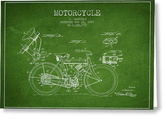 Bike Drawings Greeting Cards - 1919 Motorcycle Patent - Green Greeting Card by Aged Pixel