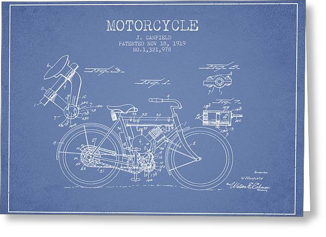 Bike Drawings Greeting Cards - 1919 Motorcycle Patent - Light Blue Greeting Card by Aged Pixel