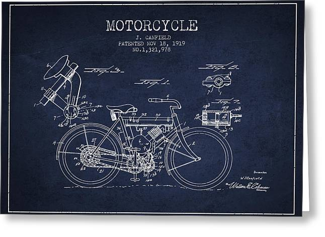Bike Drawings Greeting Cards - 1919 Motorcycle Patent - Navy Blue Greeting Card by Aged Pixel