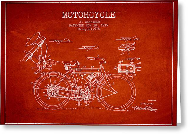Motorbikes Greeting Cards - 1919 Motorcycle Patent - Red Greeting Card by Aged Pixel