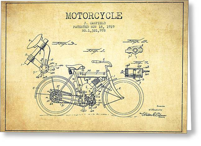 Bike Drawings Greeting Cards - 1919 Motorcycle Patent - Vintage Greeting Card by Aged Pixel