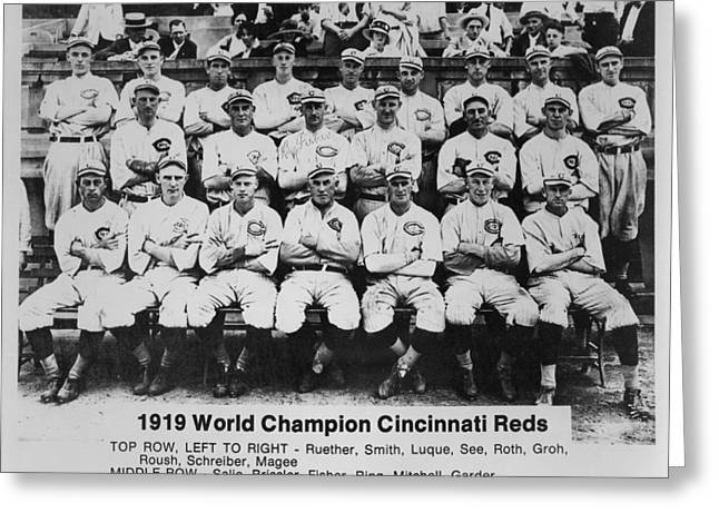 1910s Portrait Greeting Cards - 1919 World Champion Cincinnati Reds Greeting Card by Jam22