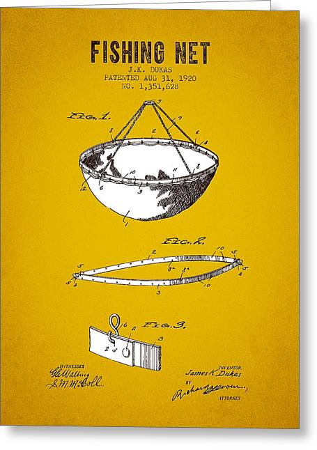 Fishing Rods Greeting Cards - 1920 Fishing Net Patent - Yellow Brown Greeting Card by Aged Pixel