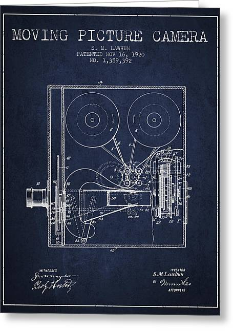 Old Camera Greeting Cards - 1920 Moving Picture Camera Patent - Navy Blue Greeting Card by Aged Pixel