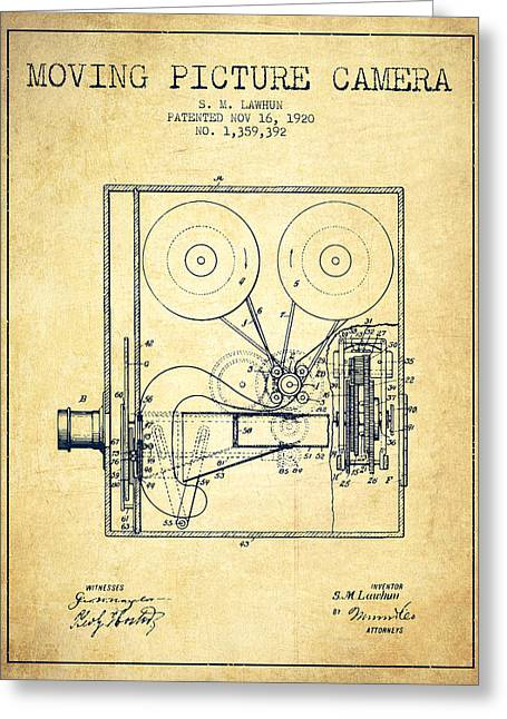 Old Camera Greeting Cards - 1920 Moving Picture Camera Patent - vintage Greeting Card by Aged Pixel