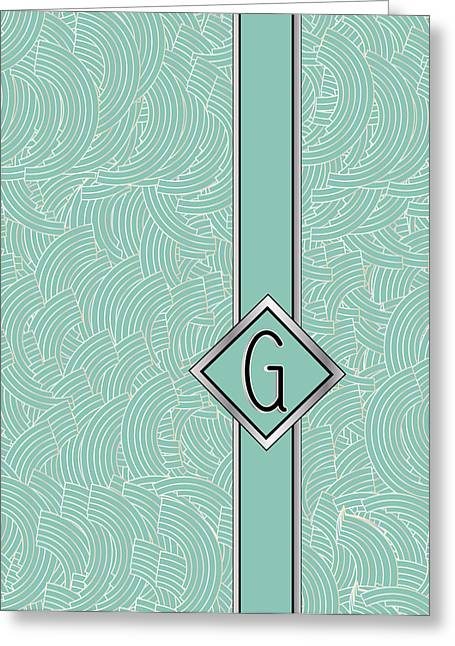 Shower Head Greeting Cards - 1920s Blue Deco Jazz Swing Monogram ...letter G Greeting Card by Cecely Bloom