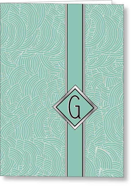 Recently Sold -  - Shower Head Greeting Cards - 1920s Blue Deco Jazz Swing Monogram ...letter G Greeting Card by Cecely Bloom