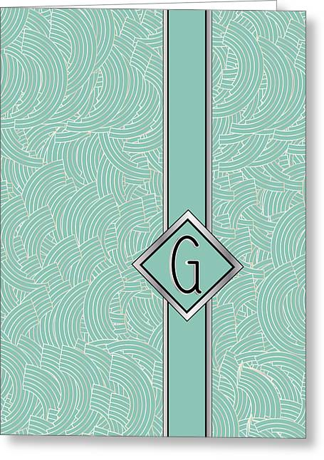 Mid-century Look Greeting Cards - 1920s Blue Deco Jazz Swing Monogram ...letter G Greeting Card by Cecely Bloom