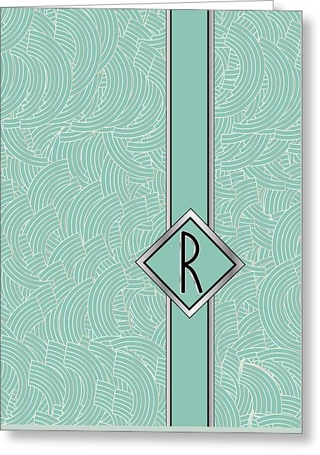 Rudolph Digital Art Greeting Cards - 1920s Blue Deco Jazz Swing Monogram ...letter R Greeting Card by Cecely Bloom