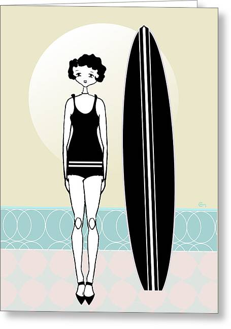 Surfer Drawings Greeting Cards - 1920s Surfer Flapper Gatsby Girl at the Beach Greeting Card by Cecely Bloom