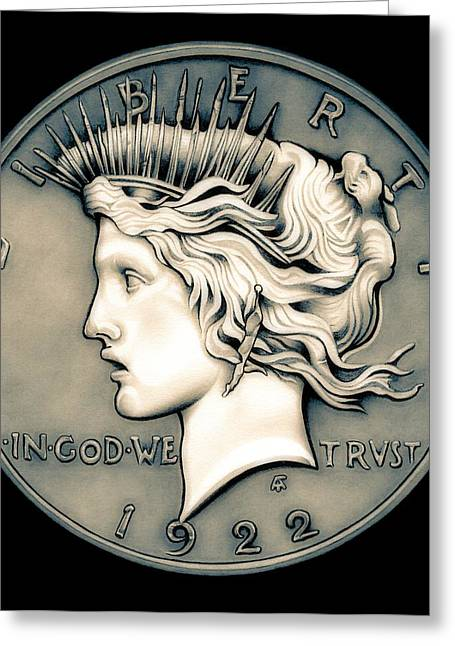 Coins Greeting Cards - 1922 Ghost Peace Dollar Greeting Card by Fred Larucci