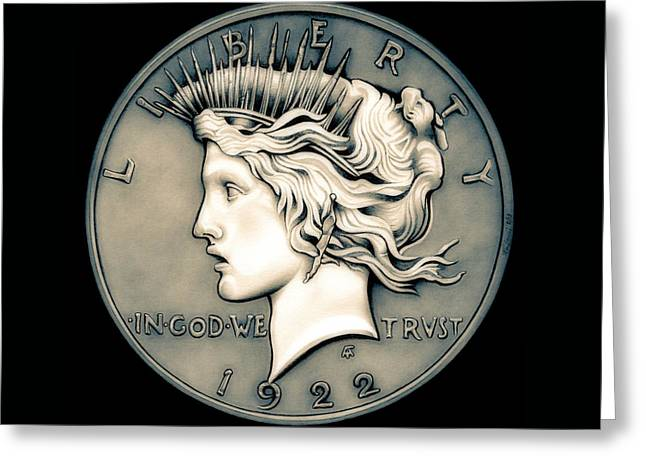 Silver Coins Greeting Cards - 1922 Ghost Peace Dollar Greeting Card by Fred Larucci