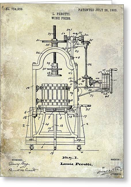 Wine Country. Greeting Cards - 1922 Wine Press Patent Greeting Card by Jon Neidert
