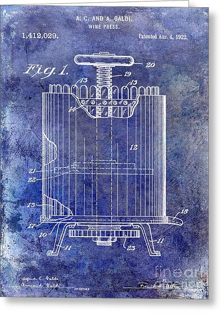 Wine Country. Greeting Cards - 1922 Wine Press Patent Blue Greeting Card by Jon Neidert