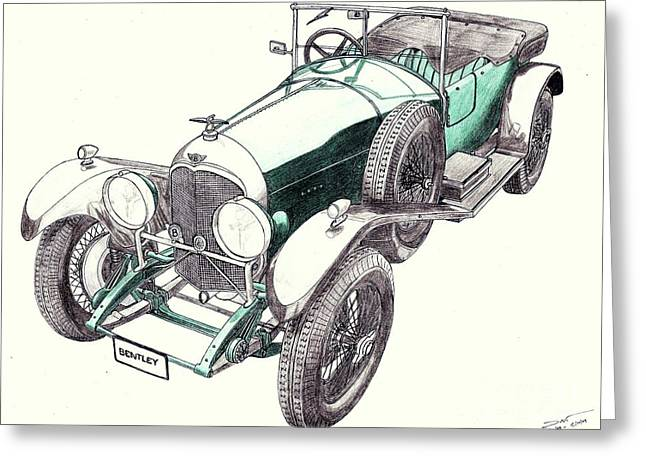Veteran Drawings Greeting Cards - 1923 Bentley 3 Litre Greeting Card by Dan Poll