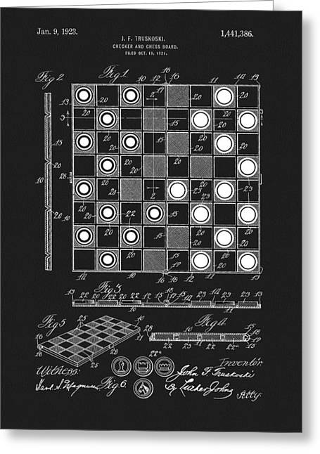 1923 Checkers And Chess Board Greeting Card by Dan Sproul