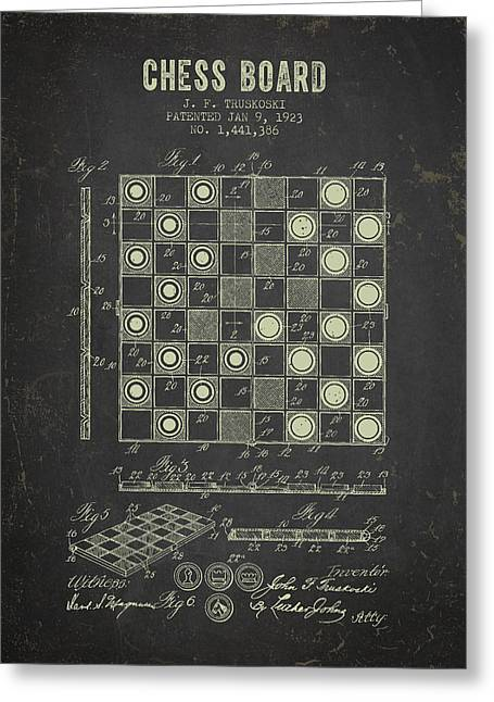 Board Games Greeting Cards - 1923 Chess Board Patent - Dark Grunge Greeting Card by Aged Pixel