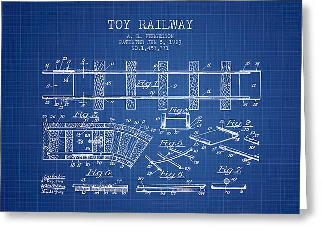 1923 Toy Railway Patent - Blueprint Greeting Card by Aged Pixel