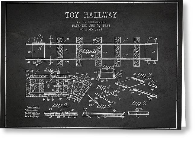 Train Drawing Greeting Cards - 1923 Toy Railway Patent - Charcoal Greeting Card by Aged Pixel