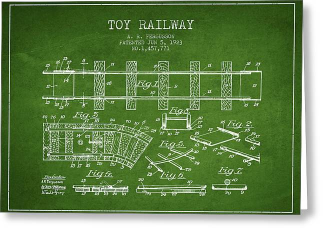 1923 Toy Railway Patent - Green Greeting Card by Aged Pixel