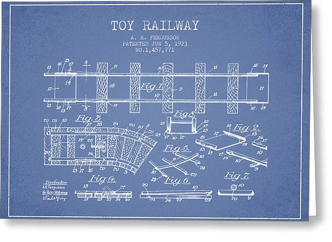 Train Drawing Greeting Cards - 1923 Toy Railway Patent - Light Blue Greeting Card by Aged Pixel