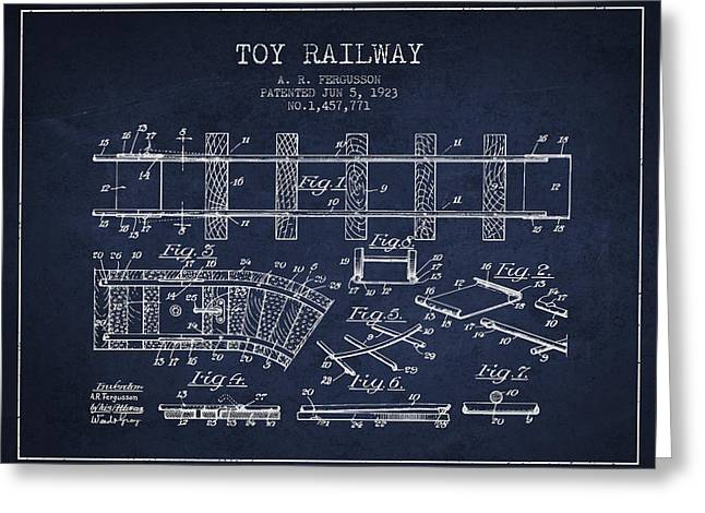 Train Drawing Greeting Cards - 1923 Toy Railway Patent - Navy Blue Greeting Card by Aged Pixel