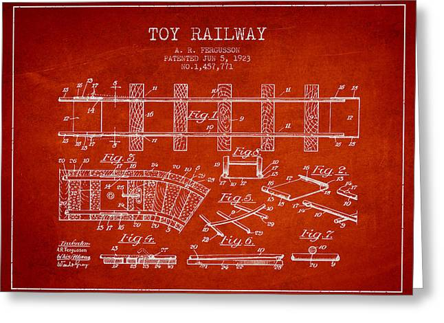 Train Drawing Greeting Cards - 1923 Toy Railway Patent - Red Greeting Card by Aged Pixel