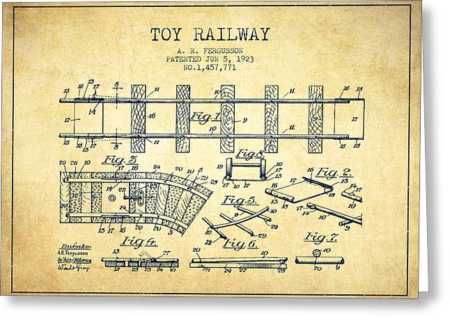 Train Drawing Greeting Cards - 1923 Toy Railway Patent - Vintage Greeting Card by Aged Pixel