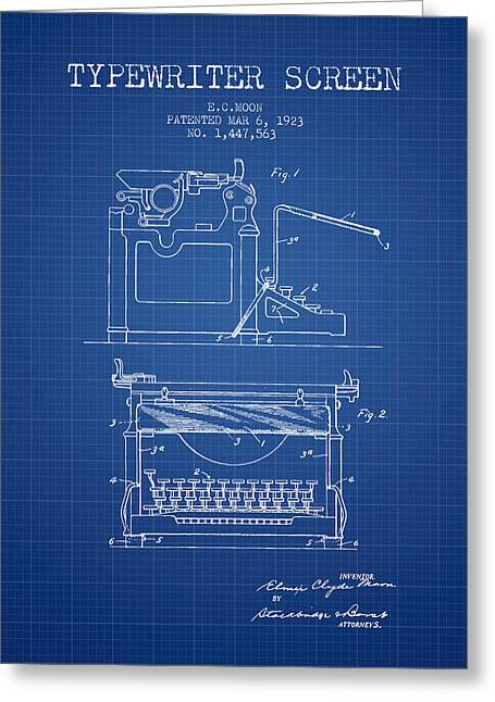 Writer Drawings Greeting Cards - 1923 Typewriter Screen patent - Blueprint Greeting Card by Aged Pixel