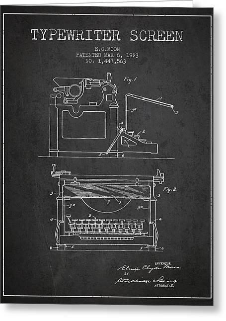 Typing Greeting Cards - 1923 Typewriter Screen patent - Charcoal Greeting Card by Aged Pixel