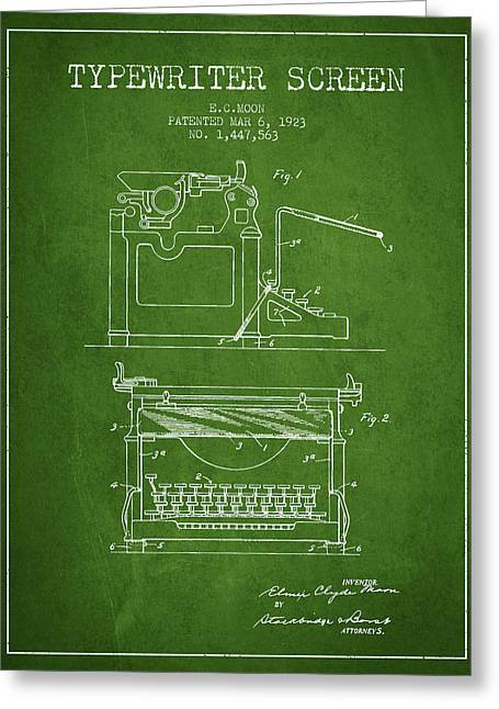 Typewriter Greeting Cards - 1923 Typewriter Screen patent - Green Greeting Card by Aged Pixel