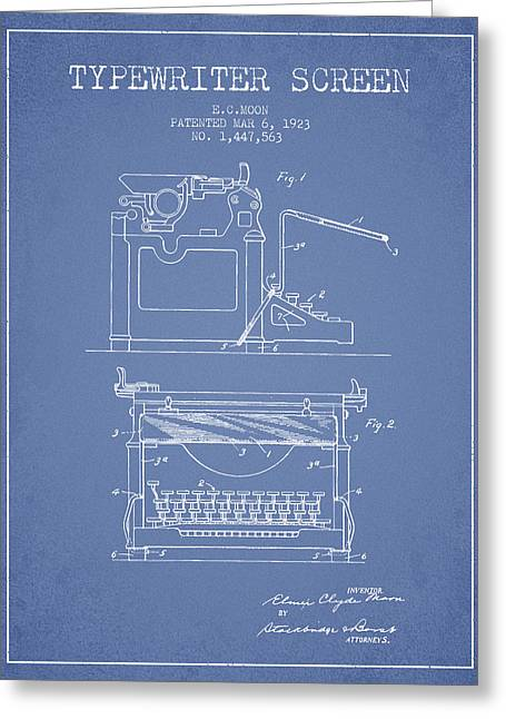 Typing Greeting Cards - 1923 Typewriter Screen patent - Light Blue Greeting Card by Aged Pixel