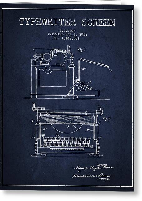 Writer Drawings Greeting Cards - 1923 Typewriter Screen patent - Navy Blue Greeting Card by Aged Pixel