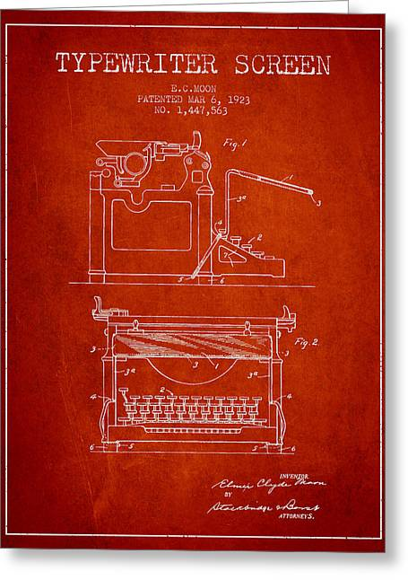 Writer Drawings Greeting Cards - 1923 Typewriter Screen patent - Red Greeting Card by Aged Pixel