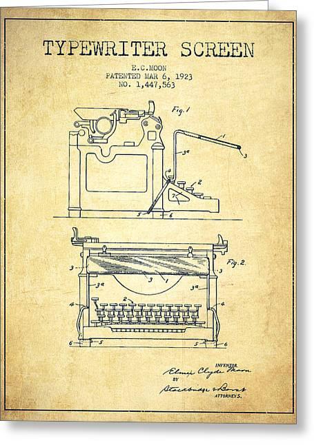 1923 Typewriter Screen Patent - Vintage Greeting Card by Aged Pixel