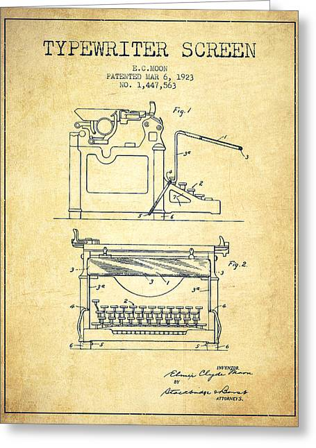 Typist Greeting Cards - 1923 Typewriter Screen patent - Vintage Greeting Card by Aged Pixel