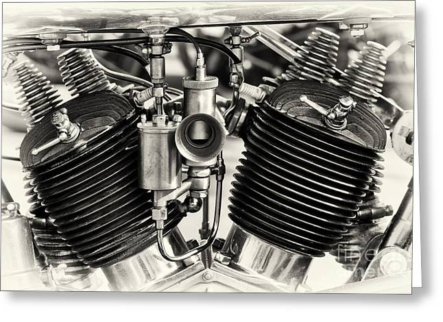 1924 Greeting Cards - 1924 Brough Superior SS80 Engine Sepia Greeting Card by Tim Gainey