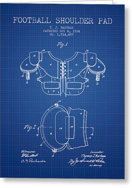 National Drawings Greeting Cards - 1924 Football Shoulder Pad Patent - Blueprint Greeting Card by Aged Pixel